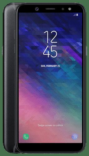 """Samsung Galaxy A6 er stór og flottur sími með Android 8.0 stýrikerfinu (Oreo). 5,7"""" skjár veitir góða upplifun, og svo inniheldur hann einnig 32 GB innra minni og minniskortarauf sem styður allt að 256 GB minniskort. Símtækið hefur svo einnig 1.6 GHz Octa-core örgjörva og 3 GB vinnsluminni. Myndavélin er 16 MP og er F1.7. Og ekki skal gleyma 3.000 mAh stóru rafhlöðunni."""