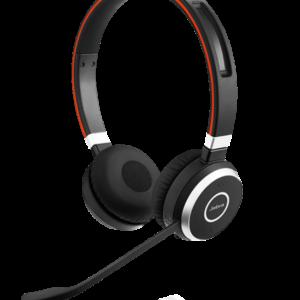 Jabra EVOLVE 65 MS heyrnatól, USB dongle við tölvu eða bluetooth. Hönnuð fyrir Skype for Business.