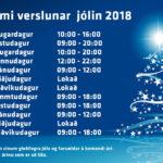 Opnunartími verslunar TRS jólin 2018